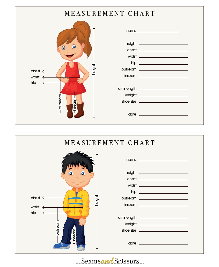 ... Body Measurements + Free Printable Size Chart - Seams And Scissors