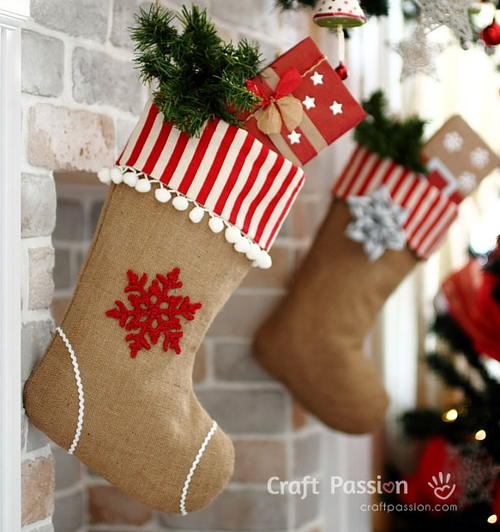 Rustic Burlap Christmas Stocking