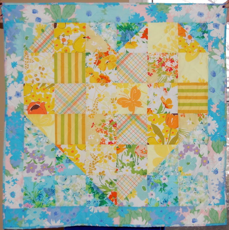 Vintage Heart Baby Quilt