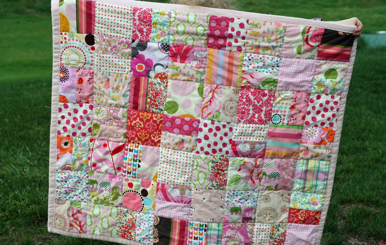 One Color Scrappy Baby Quilt