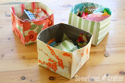 Scrap Fabric Basket Organizer