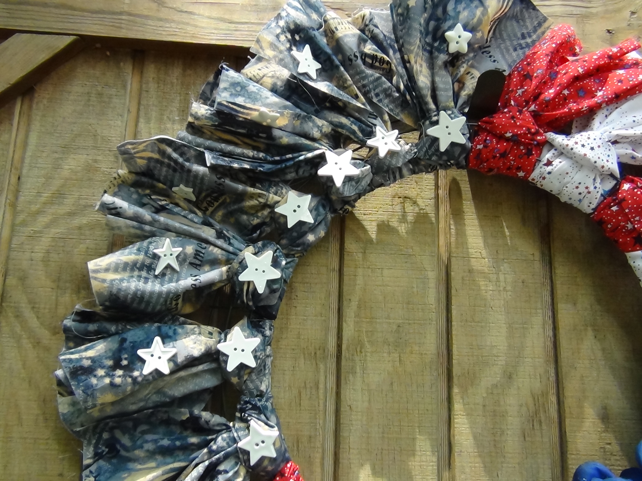 Patriotic Fabric Wreath Seams And Scissors