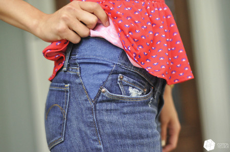 Take out your jean's waistband tutorial…aka make your pants bigger! from Cotton + Curls