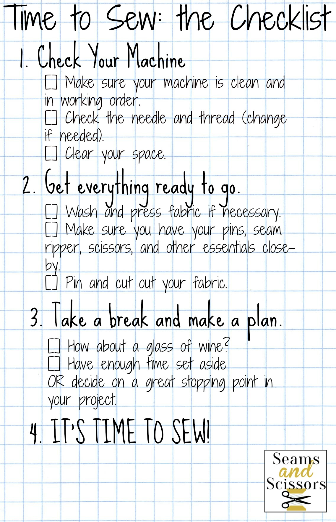 Time to Sew Checklist