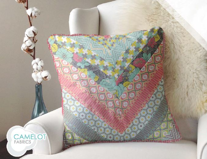chevron pilow How to Make a Throw Pillow: Free Chevron Pattern from Camelot Fabrics
