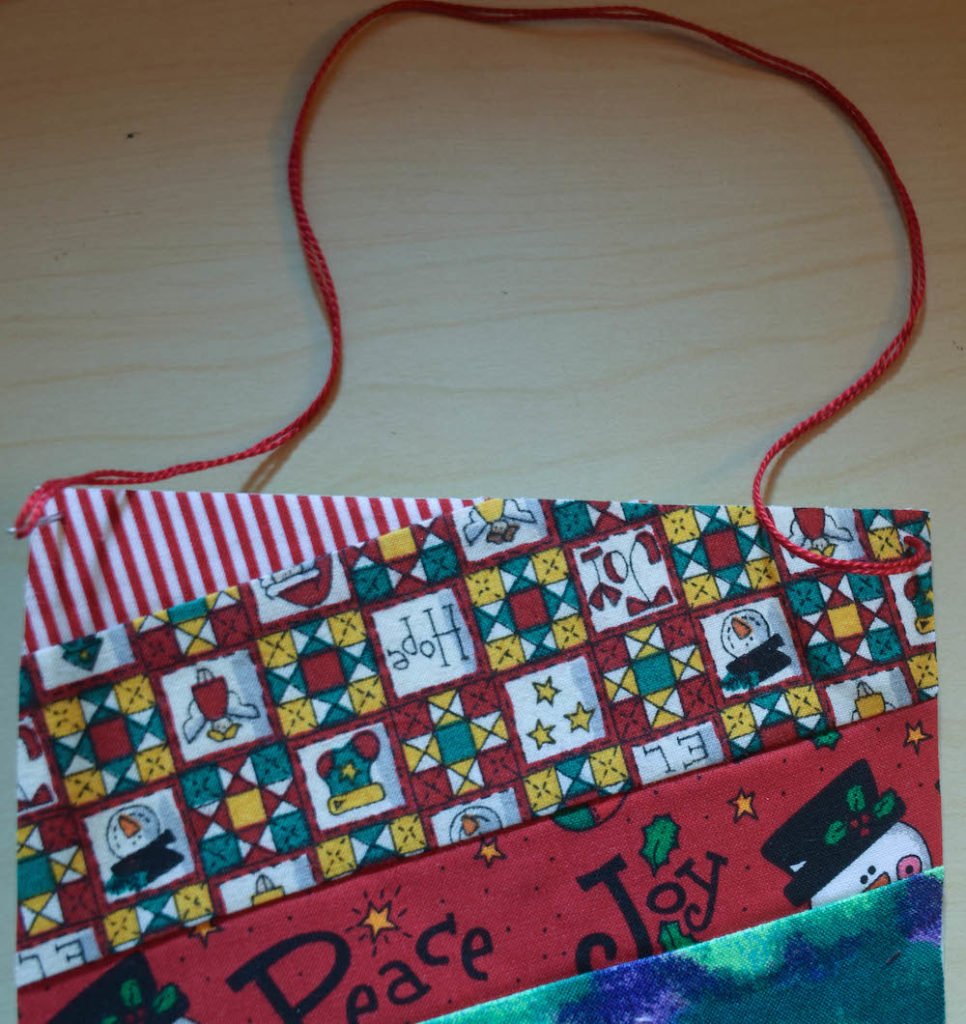 Ornament-Low-Sew Fabric Postcards Tutorial by Underground Crafter for Seams and Scissors