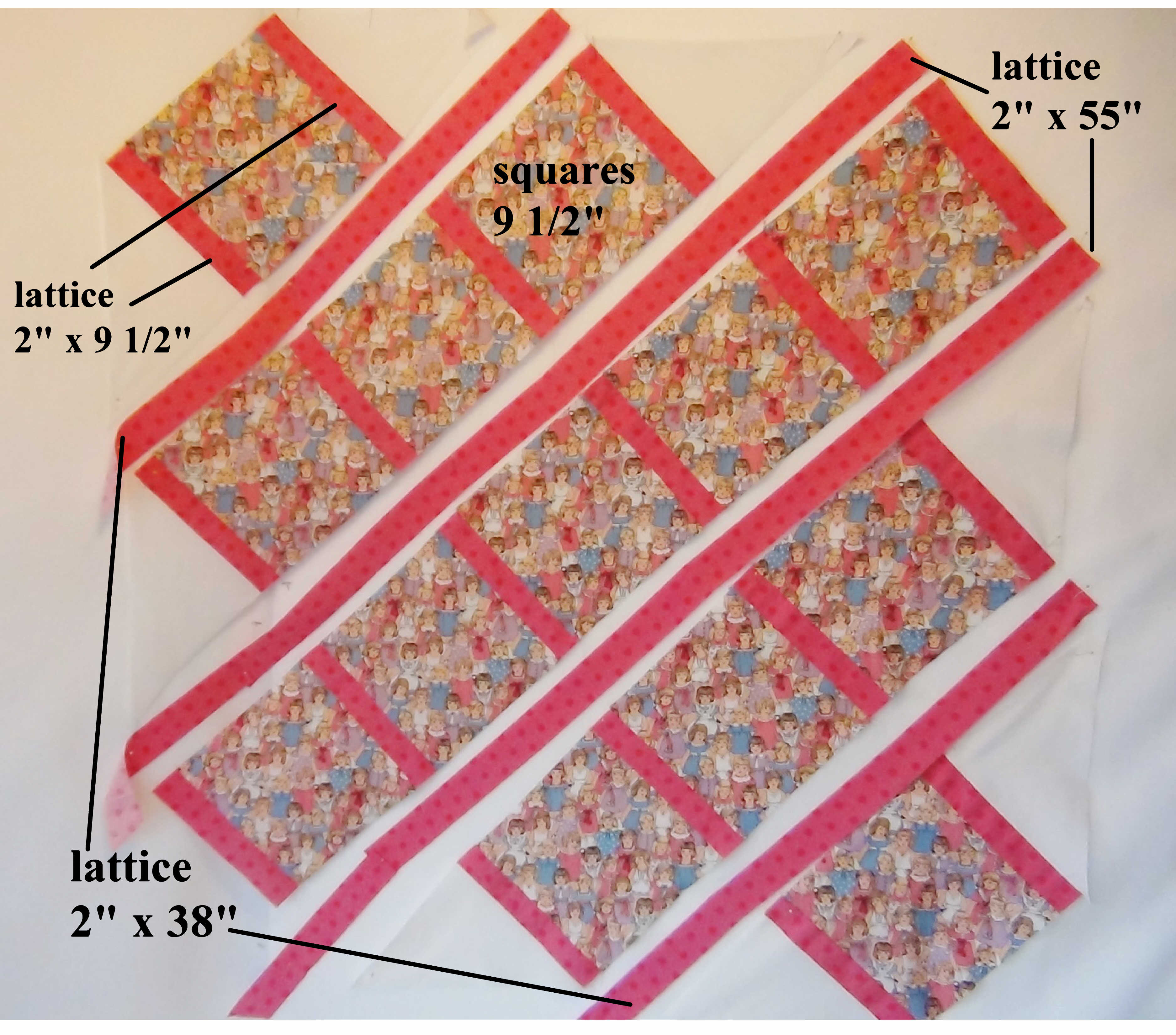 My Dolly Lattice Quilt With Treasured Vintage Look Doll Fabric