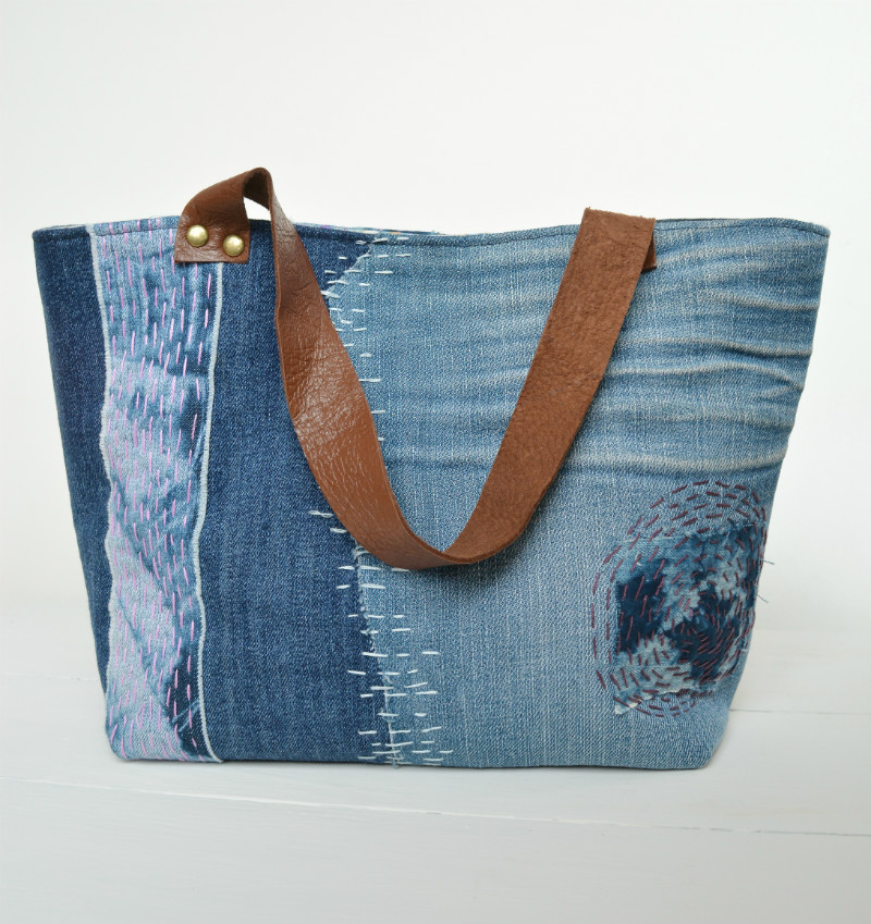 Sashiko Inspired Denim Tote Bag Pattern Seams And Scissors