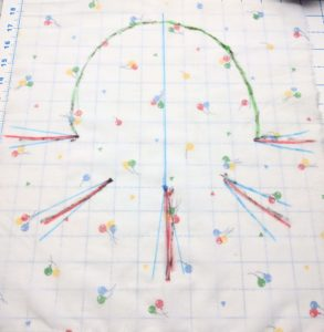 The rough shape drawn onto fabric