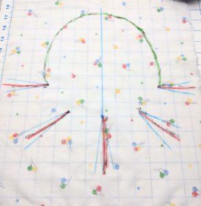The rough shape drawn onto fabric